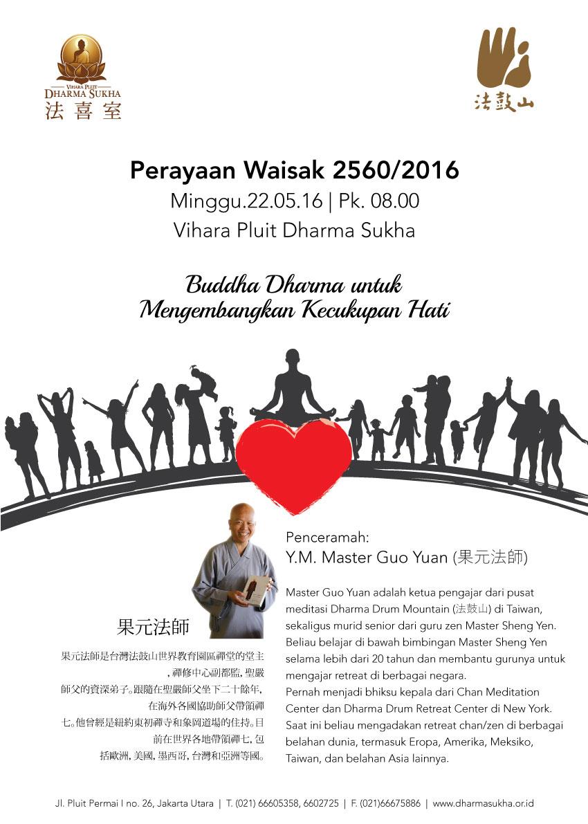 Undangan Waisak 2016 Vihara Pluit Dharma Sukha - Buddha Dharma untuk Mengembangkan Kecukupan Hati